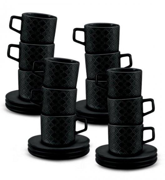 LUBIANA MARRAKESZ K8 12 x Filiżanka 250 ml + spodek 15 cm / 24 el / czarny / porcelana