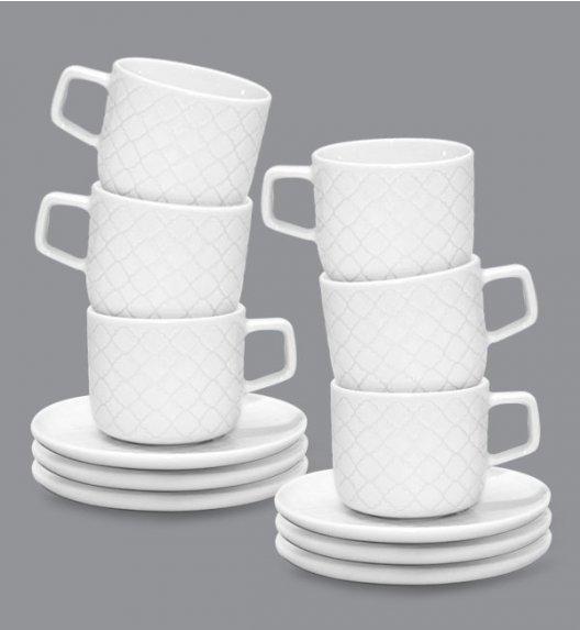 LUBIANA MARRAKESZ 6 x Filiżanka 250 ml + spodek 15 cm / 12 el / biały / porcelana