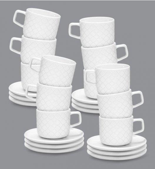 LUBIANA MARRAKESZ 12 x Filiżanka 250 ml + spodek 15 cm / 24 el / biały / porcelana