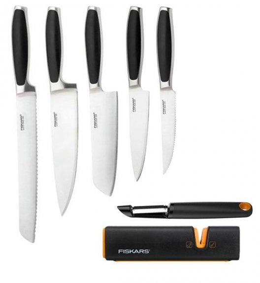 FISKARS ROYAL FSRL8 Komplet 5 noży kuchennych / stal nierdzewna + Obierak FF + Ostrzałka Fiskars Edge