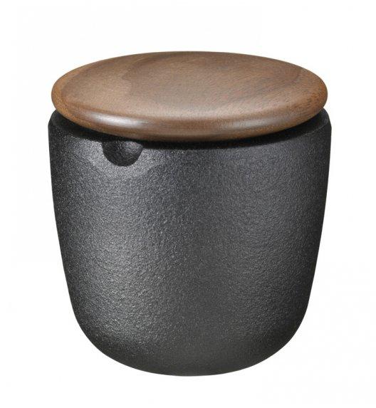 SKEPPSHULT Żeliwny pojemnik na przyprawy z drewnianą pokrywką z orzecha włoskiego