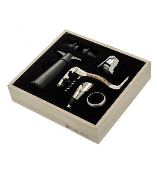 Legnoart Praktyczny zestaw do wina zapakowany w drewniane pudełko. Korkociąg do wina. Btrzy.