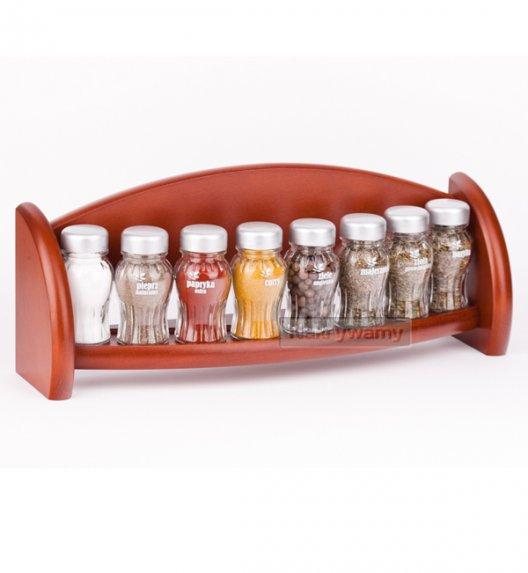 WYPRZEDAŻ! Gald półka drewniana w kolorze brązowym z 8 przyprawami. Nakrętki mat. Polski produkt. PÓŁKA 8S - B MAT