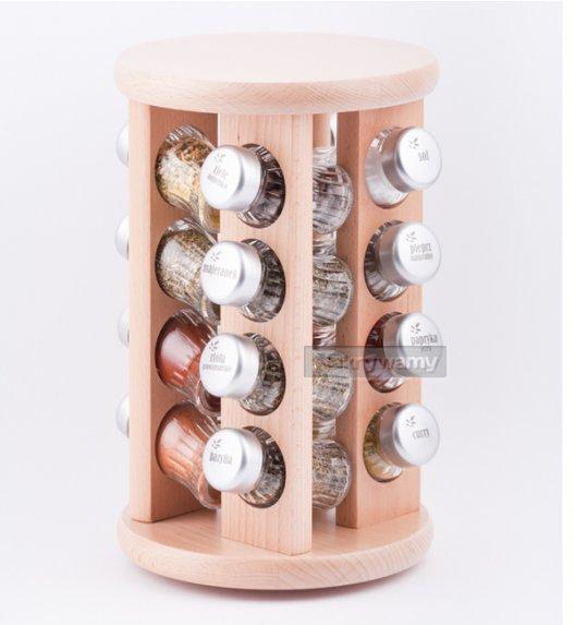 WYPRZEDAŻ! Gald stojak obrotowy drewniany w kolorze naturalnym z 16 przyprawami. Nakrętki mat. Polski produkt. NK 0003 / EAN 5901832920038.