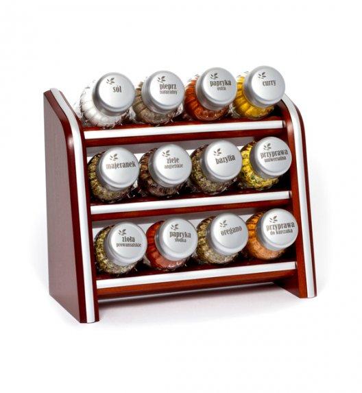 WYPRZEDAŻ! Gald Silver półka drewniana w kolorze brązowym z 12 przyprawami. Nakrętki mat. Polski produkt. NK 0027 / EAN 5901832920274.