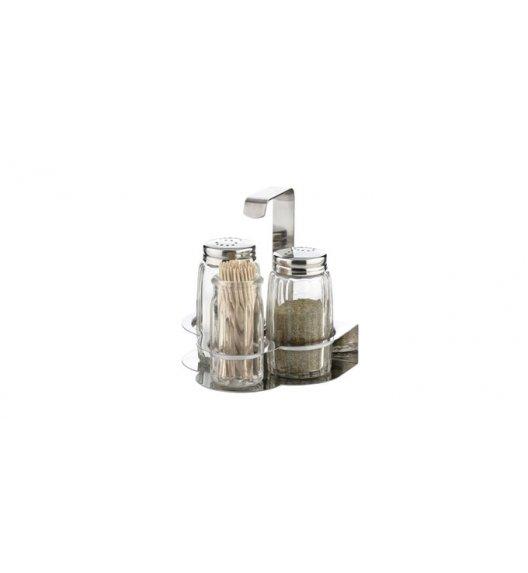 TESCOMA CLASSIC Komplet pojemników solniczka i pieprzniczka + wykałaczki ze stali nierdzewnej i wytrzymałego szkła,