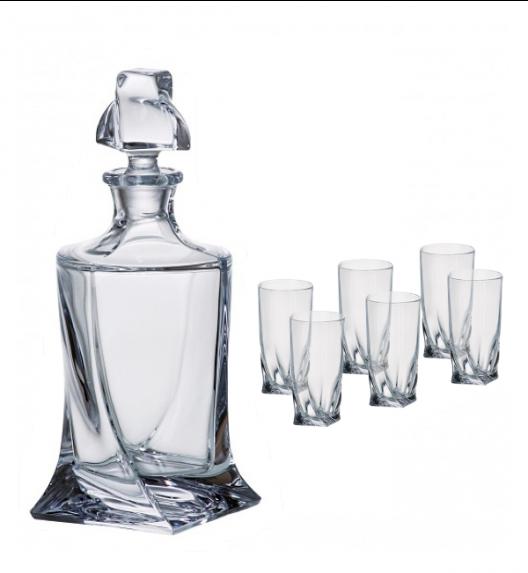 BOHEMIA QUADRO Komplet do wódki karafka + 6 kieliszków / 7 el / szkło kryształowe / CR70A500