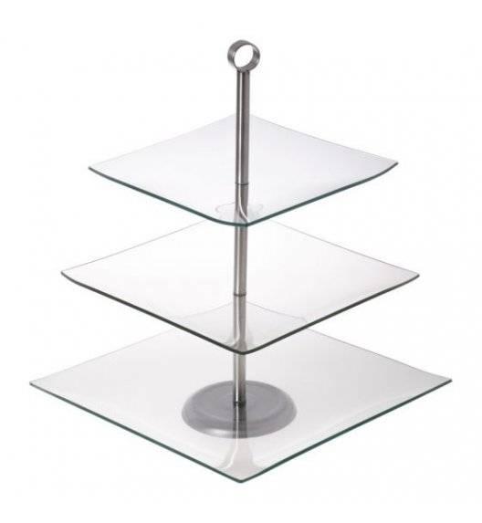 ODELO CAMILA Kwadratowa patera na ciasto / 3 poziomy / szkło